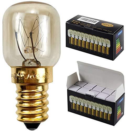 Kleine Glühlampe für Mikrowelle/Backofen, 10 Stück/Packung, SES/E14-Schraubsockel, für bis zu 300 Grad, E14 15.00W 240.00V