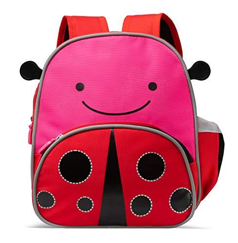 MOGLI Kinderrucksack, süßer Tagesrucksack für Kindergarten, Kita mit Brustgurt, Reflektoren und Innenfach (Maja Marienkäfer)