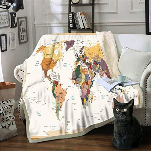 WNxiaobaozi deken, beddengoed in warme 3D druktoek, Cognac wereldkaart, pluizig zachte fleece deken, Sherpa flanel pluche deken voor afdekking slaapbank, 51.18 × 59,05 In (130 × 150 cm werpen)