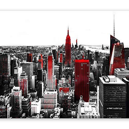 murando Fototapete New York 350x256 cm Vlies Tapeten Wandtapete XXL Moderne Wanddeko Design Wand Dekoration Wohnzimmer Schlafzimmer Büro Flur Stadt City rot grau weiß 10110904-61
