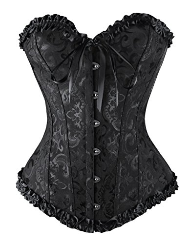 Sweetlover Bustier Corset Women Sexy Gothic Lace Up Boned Overbust Waist Trainer Floral Embroidery Lingerie G-String Top Corset Black