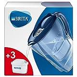 BRITA Marella azul Pack Ahorro – Jarra de Agua Filtrada con 3 cartuchos MAXTRA+, Filtro de agua BRITA que reduce la cal y el cloro, Agua filtrada para un sabor óptimo, 2.4L