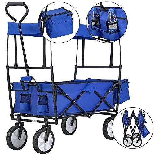 Juskys Bollerwagen faltbar mit Dach und Tasche   Räder aus Gummi   Stoff wasserabweisend   Transportkarre bis 80 kg   blau