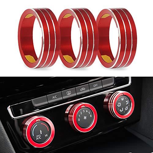 LITTOU Auto Klimaanlage Schalter Knopf Dekoration Ring Kompatibel für Golf 7 MK7 2013-2019 (Rot)