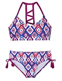 Hilor Girl's Strappy Bikini Set Two Piece Swimsuits Side Tie Hipster Swimwear Tassels Tankini Set Purple&Blue L/10-12