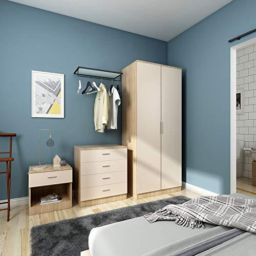 ELEGANT 3 Piece Bedroom Wardrobe Furniture Sets, 2 Door Soft Hinge Wardrobe, 4 Drawer Chest of Drawers, Beside Cabinet, Cream/Oak Bedroom Furniture Sets