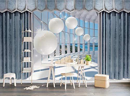 Aymsm Benutzerdefinierte 3D-Wandbild Tapete Livig Room, dreidimensionale runde Kugel europäischen Vorhang Raum modernen Sinn