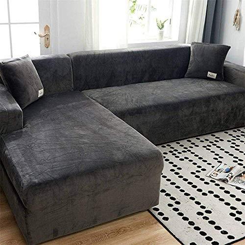 WLVG Funda de sofá de Felpa de Terciopelo, Funda de sofá elástica Antideslizante Funda Protectora Suave y Gruesa para sofá seccional en Forma de L (Gris, 1 Plaza (35-55'))