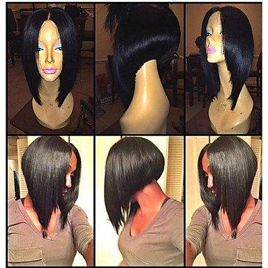 JIAYY Perruque pour femme Cheveux naturels Marron droit 40,6 cm