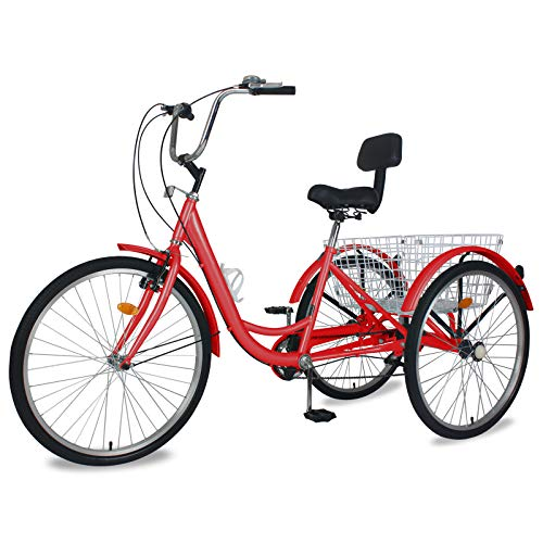 """Adult Tricycles, 7 Speed Adult Trikes 20/24/26 inch 3 Wheel Bikes for Adults with Large Basket for Recreation, Shopping, Picnics Exercise Men's Women's Cruiser Bike (Red, 24"""" Wheels/ 7-Speed)"""