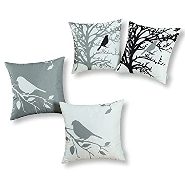 Set of 4, CaliTime Soft Canvas Throw Pillow Covers Cases for Couch Sofa Home Decor, Shadow Bird Tree Branches Silhouette, 20 X 20 Inches, Gray