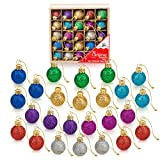 1 Inch Multicolor Mini Glitter Glass Ball Christmas Ornaments Set of 25 Balls | Miniature Christmas Tree Ornaments | Rustic Christmas Decorations | Mini Christmas Tree Decorations for Small Trees