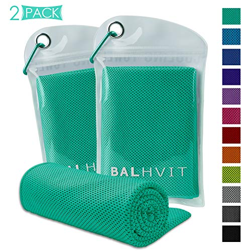 Balhvit 2 Pack Cooling Towel, Ice Towel, Microfiber Towel for Instant Cooling Relief, Cool Cold Towel for Yoga Beach Golf Travel Gym Sports Swimming Camping (Mint Green, 47x14inch)