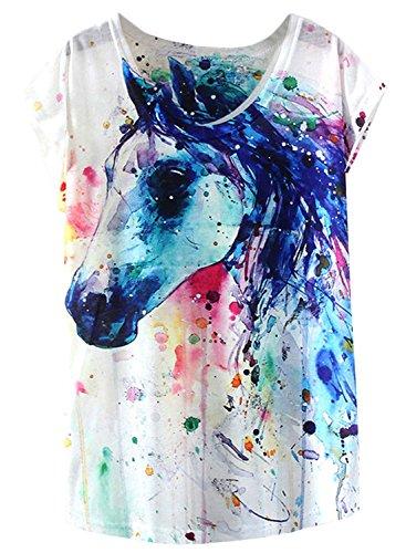 FUTURINO Damen Traum Mysterious Tshirt Pferd Drucken Kurzarm Tops Casual Tee, Pferd 867, XL