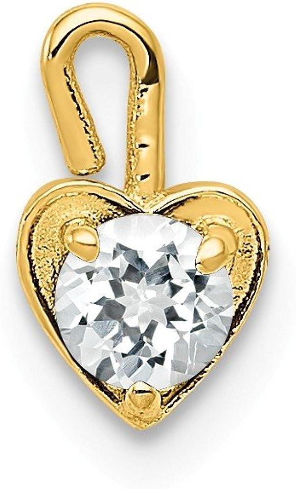 Black Bow Jewelry Apr Synthetic White Topaz 14k Yellow Gold Heart Pendant Enhancer, 5mm