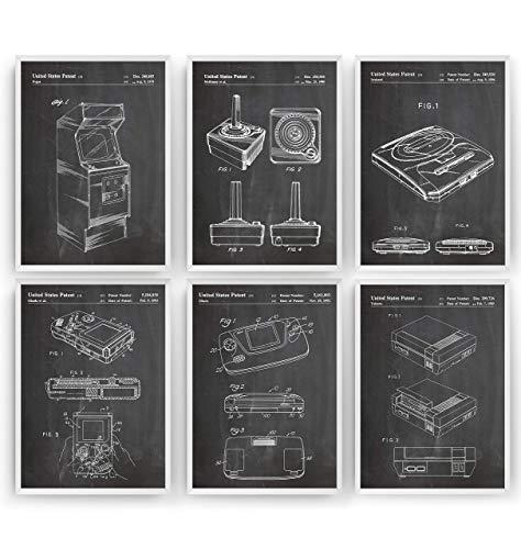 Gaming Patent Poster - Set Of 6 Prints - Spiele Jahrgang Bild Drucke Kunst Geschenke Zum Männer Frau Entwurf Dekor Art Blueprint Decor - Rahmen Nicht Enthalten
