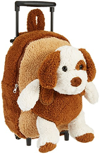 Kreative Kids Brown Puppy Rolling Backpack w/Removable...
