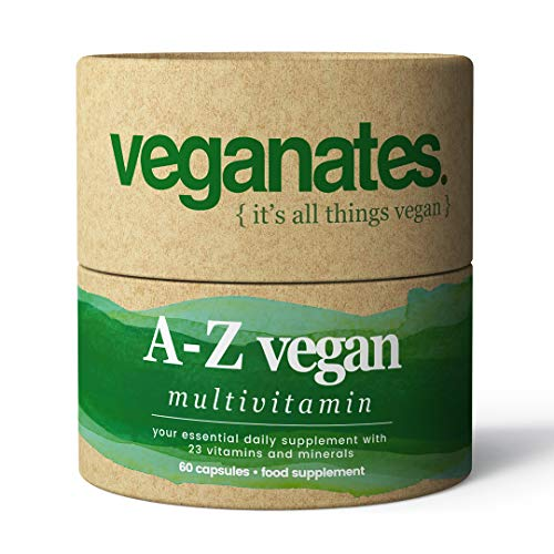 Vegan Multivitamin Supplement in Plastic Free Biodegradable Tub. 23 Vitamins and Minerals Including Vitamin D3, B12, C, K2, Iron & Zinc. Made in The UK by Veganates