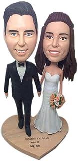 Statuetta di argilla personalizzata personalizzata per torta nuziale Topper Bobble Head Basato sulle foto dei clienti Rega...