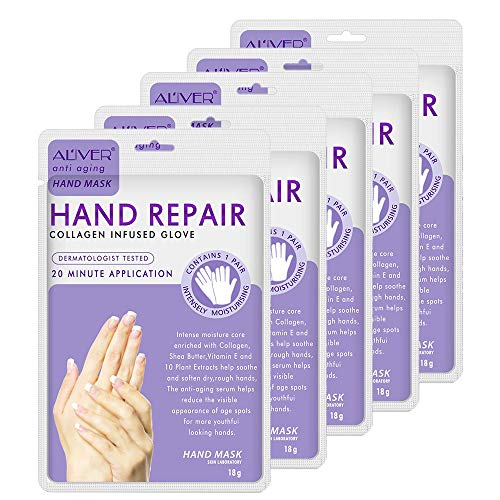5 Pairs Hands Moisturizing Gloves, Hand Skin Repair Renew Mask Infused Collagen, Vitamins + Natural Plant Extracts for Dry, Aging, Cracked Hands (5 Pairs Hand mask) (5 Pairs hand mask)