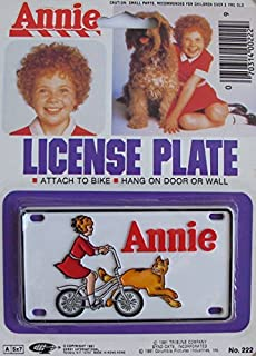 LITTLE ORPHAN ANNIE Annie & Sandy LICENSE PLATE *Attach to BIKE *HANG on DOOR or WALL (1981 Made in Hong Kong)