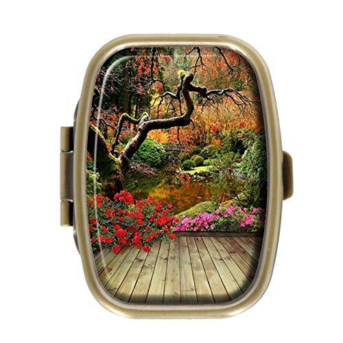 Pill Box - Forest Bridge - Decoratieve Pill Case met Gift Box - Pocket Rechthoekig Brons RVS Medicine Tablet Houder Organizer Pill Case voor portemonnee