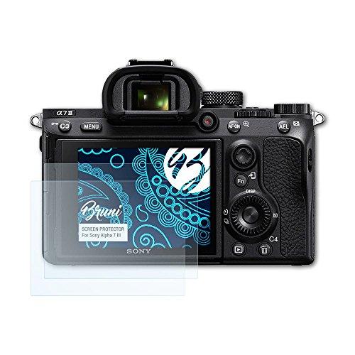 Bruni Pellicola Protettiva compatibile con Sony Alpha 7 III Pellicola Proteggi, cristallino Proteggi Schermo (2X)