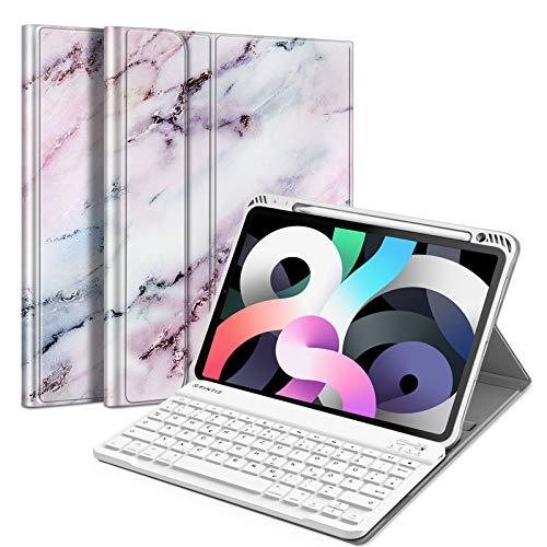 Fintie Tastatur Hulle fur iPad Air 109 2020 4 Generation Soft TPU Ruckseite Gehause Schutzhulle mit Pencil Halter magnetisch Abnehmbarer Bluetooth Tastatur mit QWERTZ Layout Marmor Rosa