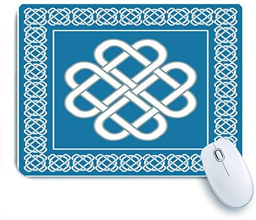 Dekoratives Gaming-Mauspad,Keltischer Liebesknoten Glückssymbol Rahmen Rahmen Historisches Amulett Design,Bürocomputer-Mausmatte mit rutschfester Gummibasis