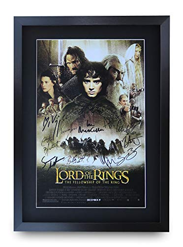HWC Trading A3 FR Lord Of The Rings - The Fellowship Of The Ring Movie Poster The Cast Signed Gift FRAMED A3 Printed Autograph Film Gifts Print Photo Picture Display
