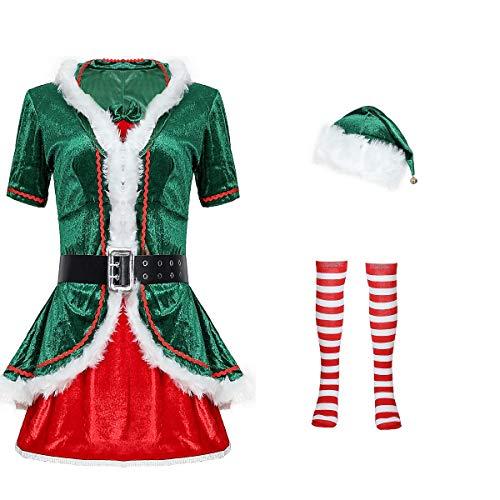 Snsunny Damen Weihnachtskostüm Mrs. Santa Claus Kostüm Weihnachtskleid mit Kapuze, Gürtel und Strumpf Christmas Party Weihnachtsfeier Cosplay Xmas Outfit (Erwachsene, Grün)