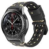iBazal Cinturino Gear S3 Pelle Braccialetto 22mm Cuoio Compatibile con Samsung Galaxy Watch 3 45mm/S3 Frontier/Classic,Galaxy Watch 46mm, Huawei Watch GT, Ticwatch Pro(Orologio Non Incluso) - Ne