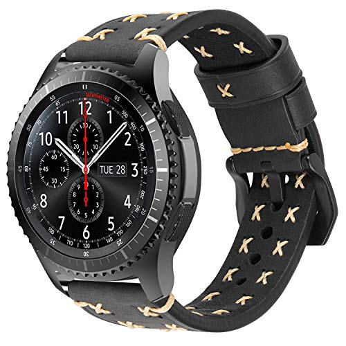 iBazal Gear S3 Frontier Classic Armband Leder Armbänder Uhrenarmband 22mm Lederband Ersatz für Samsung Galaxy 46mm SM-R805/800,Huawei GT/Honor Magic/2 Classic,Ticwatch Pro Herren Uhr Band - Schwarz