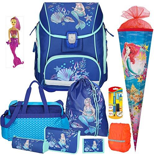 Spirit Mermaid Pro Light - Leicht-Schulranzen-Set mit BLINKENDEM LED-Schloss 10tlg. mit Sporttasche Schultüte Regensicherheitshülle - Meerjungfraufigur und Füller GRATIS