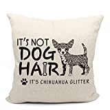 It's Not Dog Hair It's Newfie Glitter Throw Pillow Case, Dog Lover Gifts, Newfoundland Dog Gifts, Funny Newfie Throw Pillow Cover, 18 x 18 Inch Decorative Cotton Linen Cushion Cover for Sofa Couch Bed