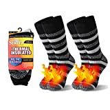 Men Winter Work Socks For Outdoor, Three street Winter Thermals Heated Ultra Thick Heavy Boot Mens Working Famer Outdoor Thermal Winter Socks Insulated Socks Christmas Black White Stripe 2 Pairs