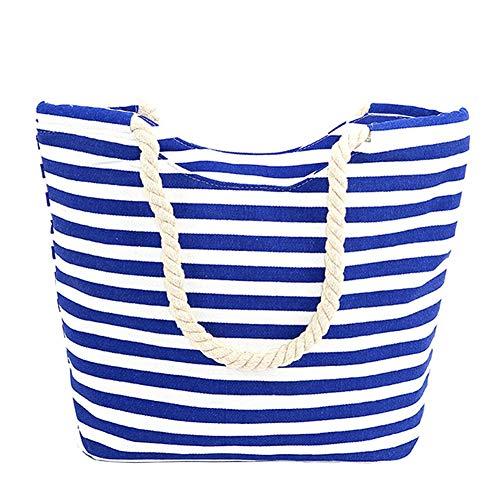 TEERFU Strandtasche für Damen, aus Segeltuch, gestreift, mit Seilgriff, für Strand, Urlaub, Shopping, Reisen (45 x 32 x 14 cm), - gestreift - Größe: Large