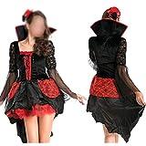 ZHFEL Halloween Disfraz Juego De Roles, Noche De Carnaval Fiesta Vestido Maquillaje Fiesta De Baile Rendimiento Vestidos por Adulto Mujeres-Rojo
