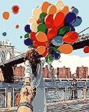 YUHHGFK Pintar por Numeros Adultos Globos de Colores Pintura al óleo de DIY por Números con Pinceles y Pinturas para Adultos y Niños Decoraciones para el Hogar- 40 x 50 cm (con Marco de Madera)