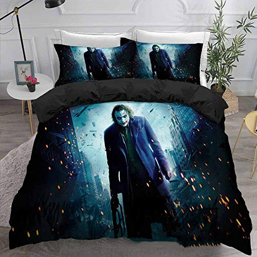 Clown Comforter Microfiber Bedding Set Duvet Cover Set Pillowcases Twin Full Queen King Size Bedclothes for Teens Boys Bed Set (D,Twin)