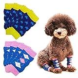 Yemiany Calcetines de patas de perro de punto,8PCS Calentador de piernas para perros Mangas de tobillo para mascotas Protector de corvejón de piernas Anti-Orine Rodilleras para perros Gatos(Azul, XL)