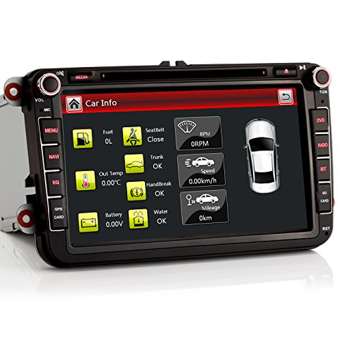 iFreGo Autoradio für VW Golf 5/6, für Passat, für Tiguan, für Polo, für Skoda, für Touran, für Caddy, Autoradio Bluetooth, Radio GPS Navigation 8 Zoll 2 Din Autoradio DVD CD RDS DAB +