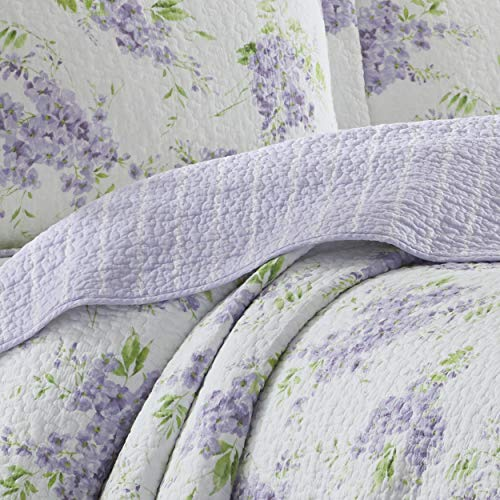 Laura Ashley Home   Keighley Collection   Luxury Premium Ultra Soft Quilt Coverlet, Comfortable 3 Piece Bedding Set, All Season Stylish Bedspread, King, Lilac