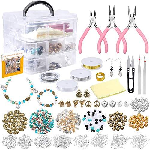 Jyueyang - Kit de suministros para hacer manualidades con abalorios y abalorios