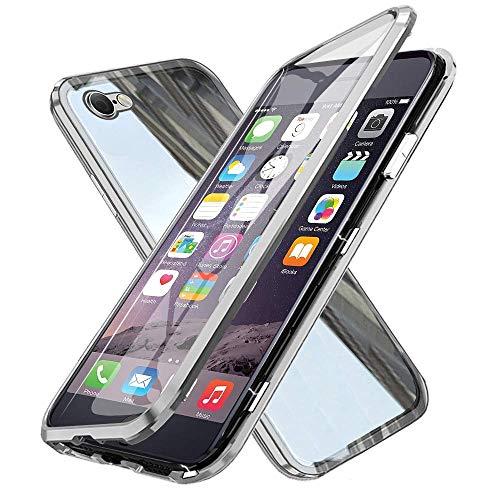 XCYYOO Coque pour iPhone 6/iPhone 6s,360 Degrés Avant et arrière Verre trempé Transparent Case Cover, Technologie d'adsorption Magnétique Bumper Métal Frame Etui Anti-Rayures Housse