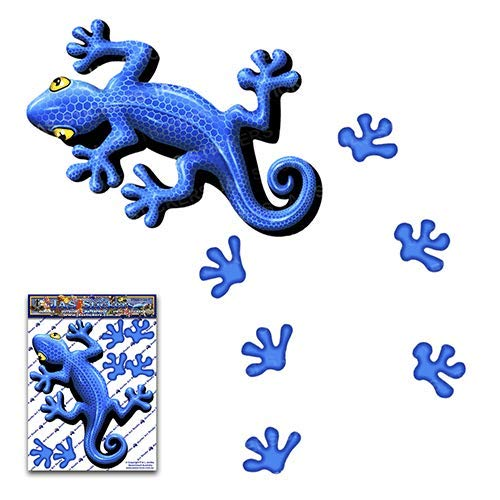 JAS Stickers Blue Gecko Funny Car Decal - Lizard + Foot Prints - Cute Animal Window Bumper Small Vinyl Sticker Pack for Laptop, Phone, Bicycle, Trucks Caravans - ST00031BL_SML