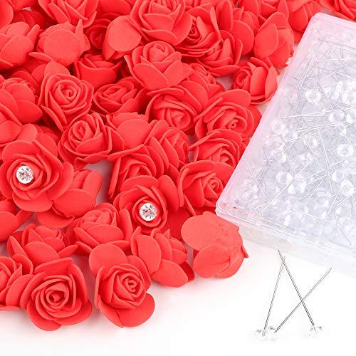 VINFUTUR 200 Stücke Mini Schaumrosen Foamrosen köpfe Künstliche Rosenköpfe + 200 Stücke Kristallnadel für DIY Rosen Bär Hochzeit Jahrestag Party Home Deko