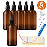 HandsUnity 6 x 100 ml Pipeta Botella cuentagotas de Cristal marrón Set – Pequeños Vasos de Cristal como Botellas de Farmacia Incluye 16 Accesorios