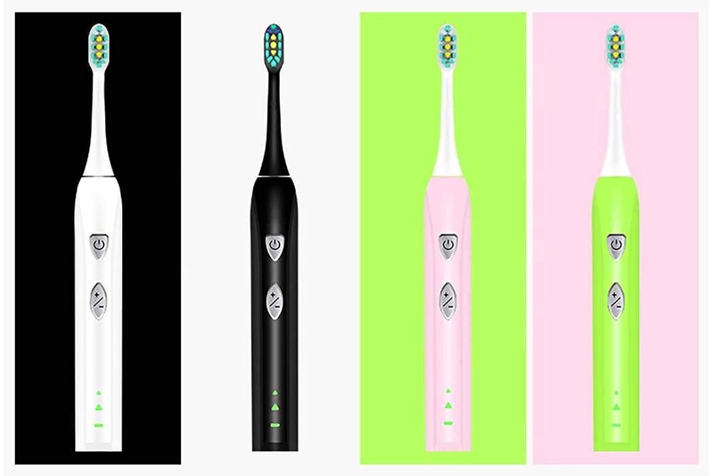 単にに付けるヘア電動歯ブラシ、フルオートソニック電動歯ブラシ、トラベルボックス付きインテリジェント充電自動歯ブラシ、スマートタイマー、ミュート防水(カラー:グリーン)