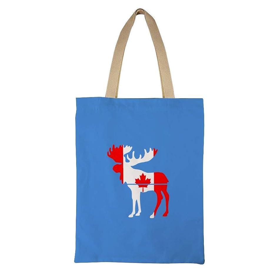 ベスト関与する音楽Moose Canada Flag Design Pattern レディース キャンバストートバッグ ハンドバッグキャンバスショルダーバッグ通勤通学 大容量 軽量